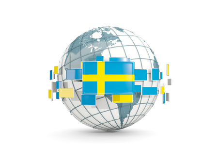 Globe with flag of sweden isolated on white. 3D illustration