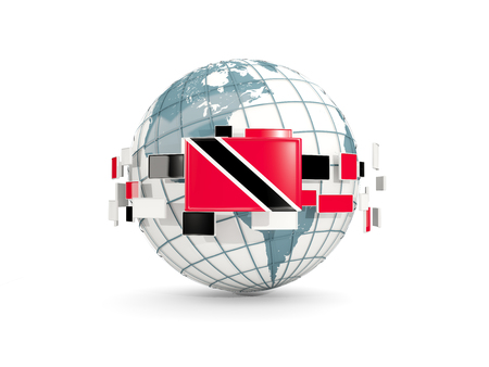 Globe with flag of trinidad and tobago isolated on white. 3D illustration