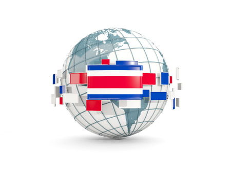 Globe with flag of costa rica isolated on white. 3D illustration