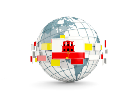 Globe with flag of gibraltar isolated on white. 3D illustration Stock Photo
