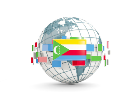 Globe with flag of comoros isolated on white. 3D illustration