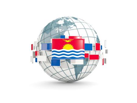 Globe with flag of kiribati isolated on white. 3D illustration Stock Photo