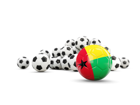 Football with flag of guinea bissau isolated on white. 3D illustration