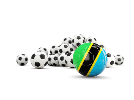 Football with flag of tanzania isolated on white. 3D illustration