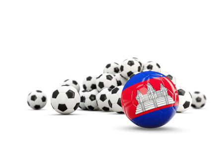 Football with flag of cambodia isolated on white. 3D illustration
