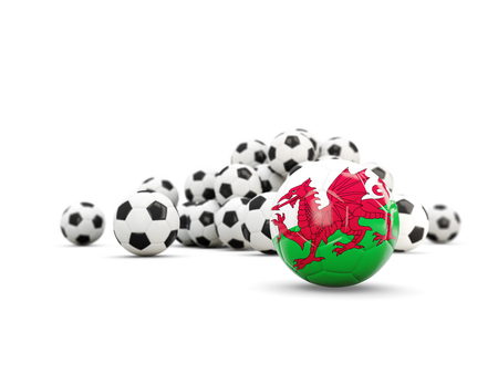 wales: Football with flag of wales isolated on white. 3D illustration