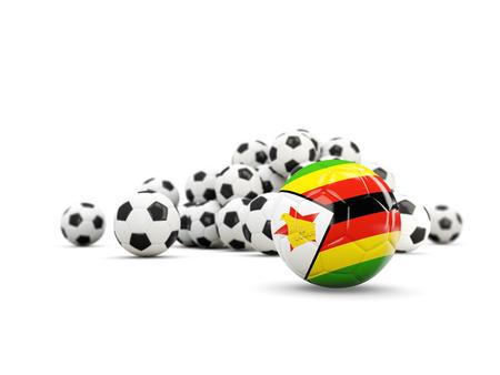 Football with flag of zimbabwe isolated on white. 3D illustration