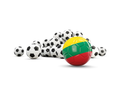 Football with flag of lithuania isolated on white. 3D illustration Stock Photo