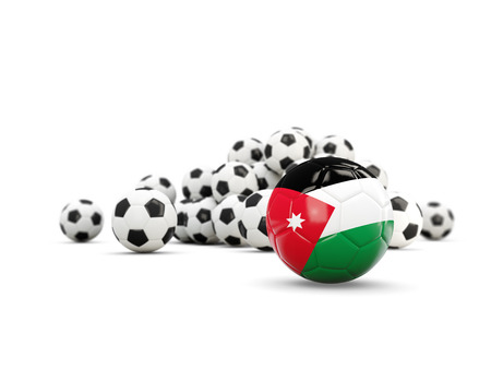 Football with flag of jordan isolated on white. 3D illustration