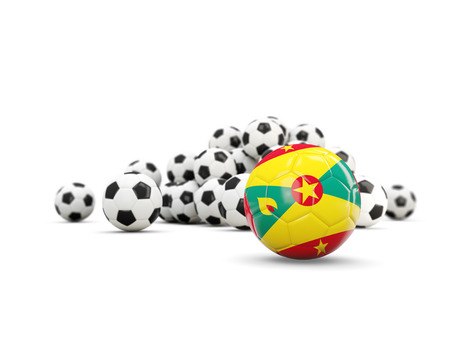 grenada: Football with flag of grenada isolated on white. 3D illustration Stock Photo