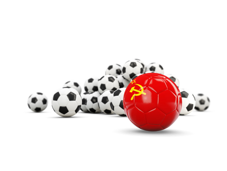Football with flag of ussr isolated on white. 3D illustration