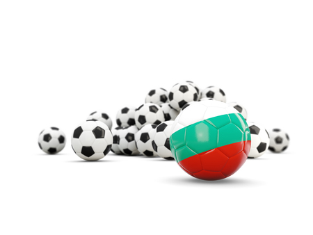 Football with flag of bulgaria isolated on white. 3D illustration Stock Photo