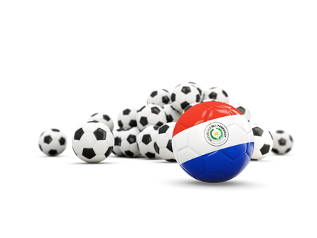 bandera de paraguay: Football with flag of paraguay isolated on white. 3D illustration Foto de archivo