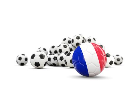 Fútbol con la bandera de Francia aislado en blanco. Ilustración 3D Foto de archivo - 78980164