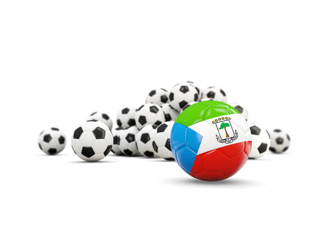 Football with flag of equatorial guinea isolated on white. 3D illustration