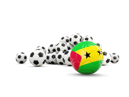 Football with flag of sao tome and principe isolated on white. 3D illustration