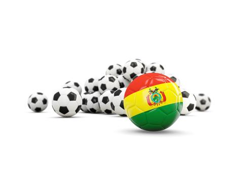 Fútbol con la bandera de bolivia aislado en blanco. Ilustración 3D