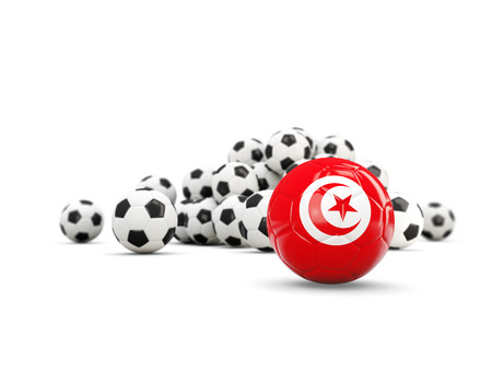 Football with flag of tunisia isolated on white. 3D illustration