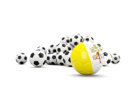 Fútbol con la bandera de la ciudad de vaticano aislada en blanco. Ilustración 3D Foto de archivo - 78981504
