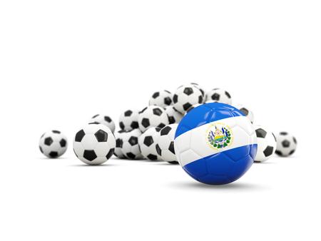 bandera de el salvador: Football with flag of el salvador isolated on white. 3D illustration Foto de archivo