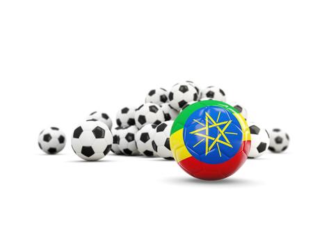 national flag ethiopia: Football with flag of ethiopia isolated on white. 3D illustration