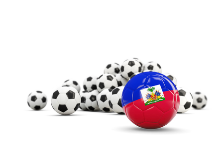 Football with flag of haiti isolated on white. 3D illustration