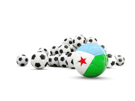 Football with flag of djibouti isolated on white. 3D illustration