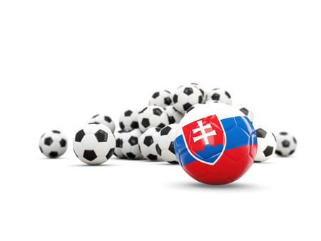 Football with flag of slovakia isolated on white. 3D illustration