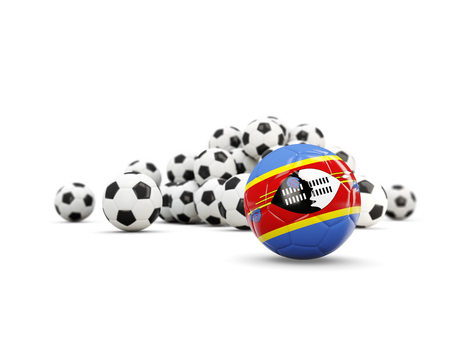 Football with flag of swaziland isolated on white. 3D illustration