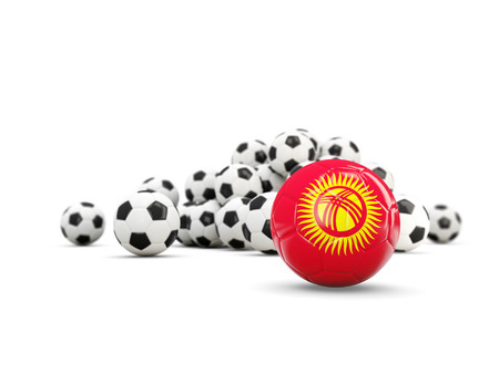 kyrgyzstan: Football with flag of kyrgyzstan isolated on white. 3D illustration