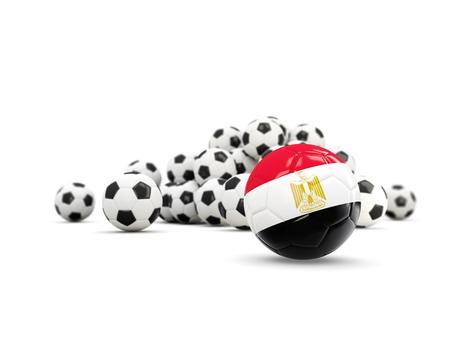 bandera de egipto: Football with flag of egypt isolated on white. 3D illustration Foto de archivo