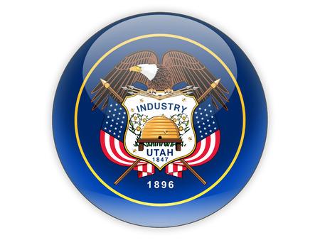 ユタ州、米国状態アイコンが白で隔離の旗。3 D イラストレーション