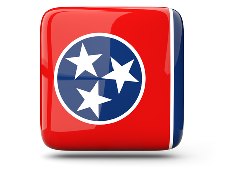 Flag of tennessee, US states square  icon isolated on white. 3D illustration