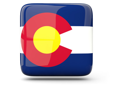 Flag of colorado, US states square  icon isolated on white. 3D illustration Stock Photo