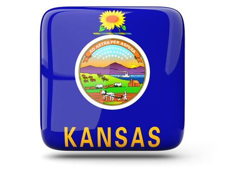 Flag of kansas, US states square  icon isolated on white. 3D illustration