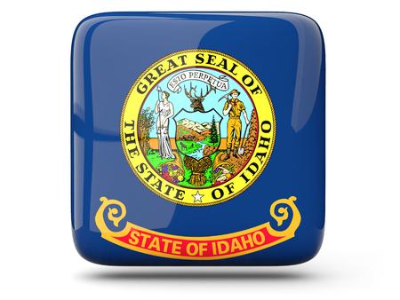 米国アイダホ州の旗は、白で隔離のアイコンを正方形します。3 D イラストレーション