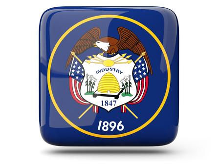 米国ユタ州の旗は、白で隔離のアイコンを正方形します。3 D イラストレーション