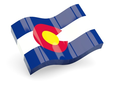 Flag of colorado, US state wave icon isolated on white. 3D illustration Stock Photo