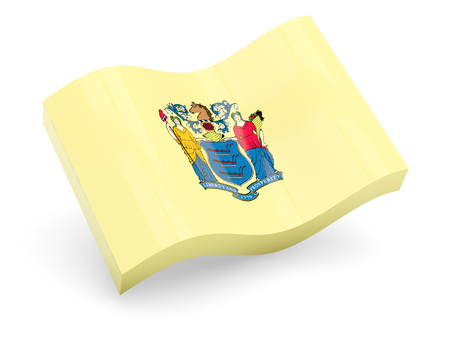 Flag of new jersey, US state wave icon isolated on white. 3D illustration Stock fotó
