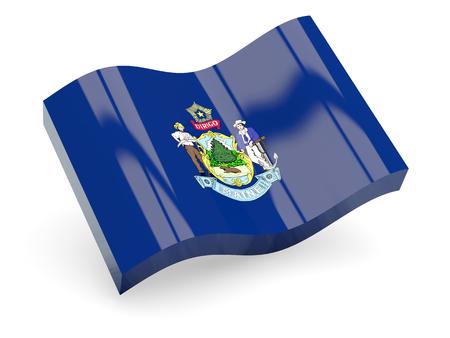 メイン州、米国州波アイコン白で隔離の旗。3 D イラストレーション
