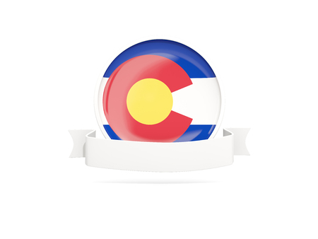 Flag of colorado with banner, US state round icon isolated on white. 3D illustration Stock Photo