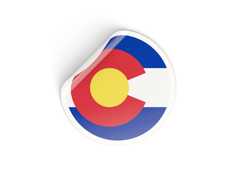 Flag of colorado, US state round sticker isolated on white. 3D illustration
