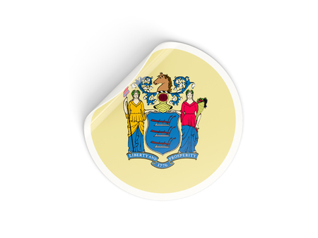 jersey: Flag of new jersey, US state round sticker isolated on white. 3D illustration