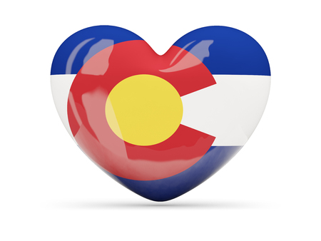 Flag of colorado, US state heart icon isolated on white. 3D illustration