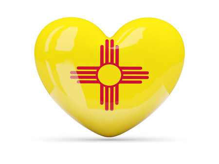 Flag of new mexico, US state heart icon isolated on white. 3D illustration