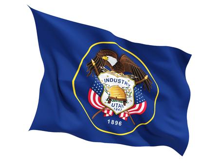 ユタ州、白で隔離フラグを舞う米国状態の旗。3 D イラストレーション