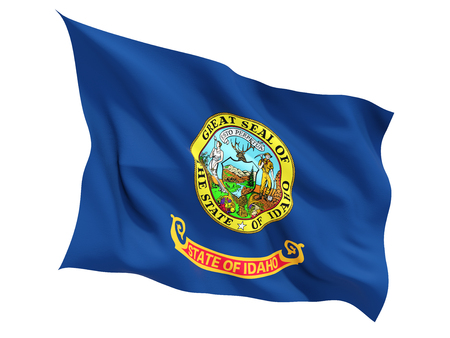 白で隔離フラグを舞う米国の州、アイダホ州の旗。3 D イラストレーション