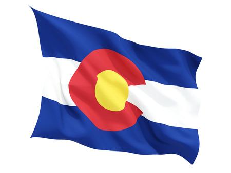 コロラド州、白で隔離フラグを舞う米国の州の旗。3 D イラストレーション