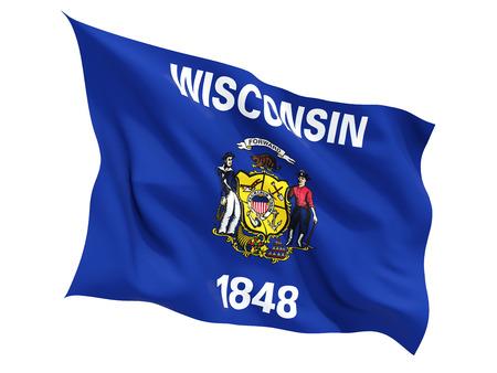 白で隔離フラグを舞うウィスコンシン、米国の州の旗。3 D イラストレーション