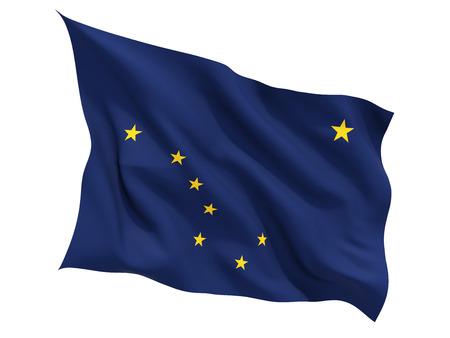 アラスカ、白で隔離フラグを舞う米国の州の旗。3 D イラストレーション 写真素材